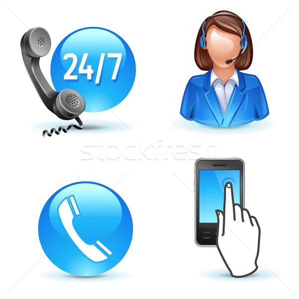 Klantenservice ondersteuning telefoon mobiele iconen Stockfoto © kraska