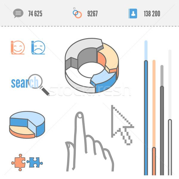 Infografica elementi statistiche torta ricerca icona Foto d'archivio © kraska