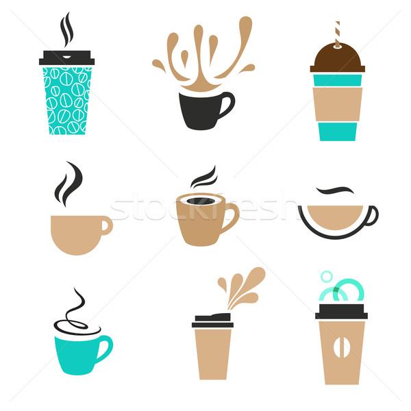Moderno café conjunto etiqueta descartável papel Foto stock © kraska