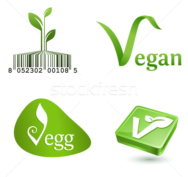 Vegetariano simboli verde foglie pulsanti segno Foto d'archivio © kraska