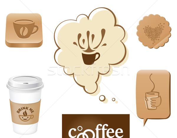 Tazza di caffè simboli fagioli caffè cioccolato segno Foto d'archivio © kraska