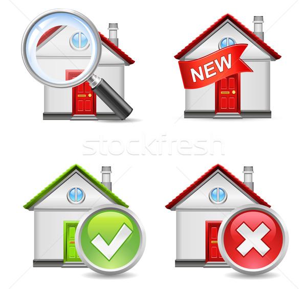 Stock photo: real estate icons set 1