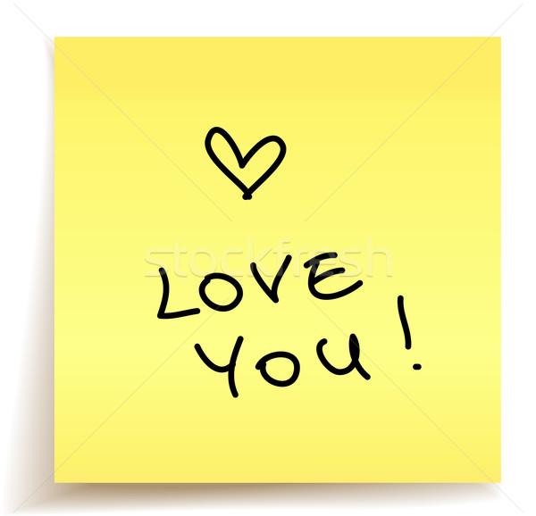 Amore nota carta ufficio mano cuore Foto d'archivio © kraska