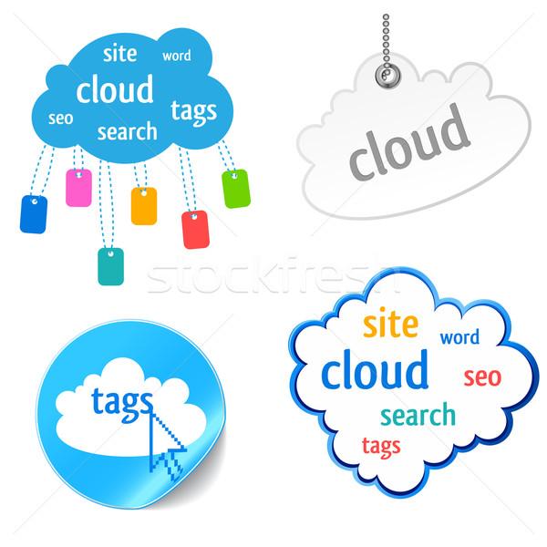 Bulut etiket ikon seo bilgisayar arka plan Stok fotoğraf © kraska