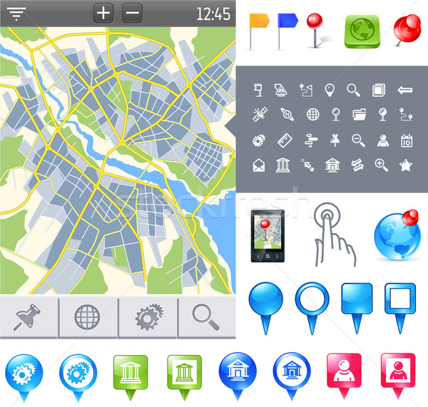 Stock photo: map-icon-gps