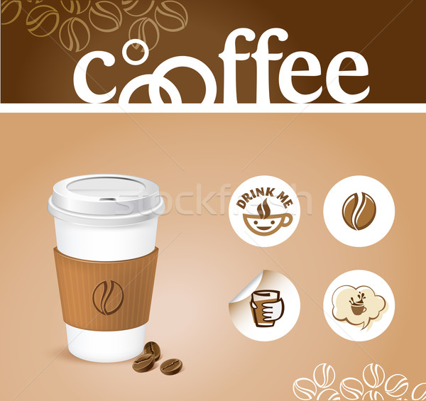 Cafea creator ceaşcă de cafea autocolante mână artă Imagine de stoc © kraska
