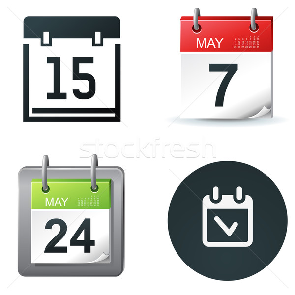 Calendrier icônes date simple symboles affaires Photo stock © kraska