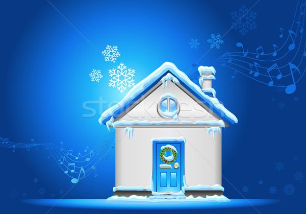 Natale sera casa decorazione neve cielo Foto d'archivio © kraska