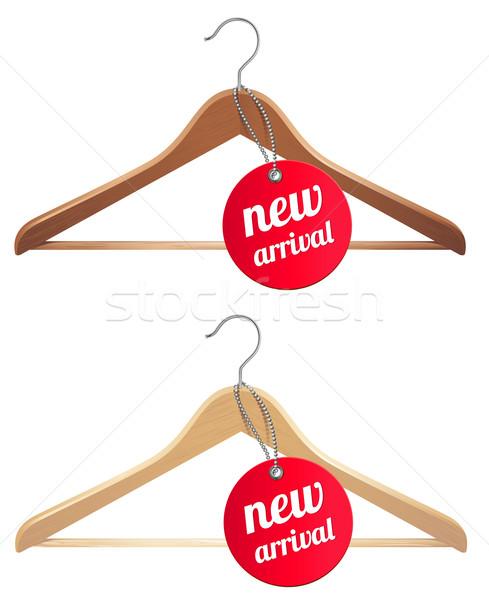 új érkezés címke ruházat vállfa piros Stock fotó © kraska