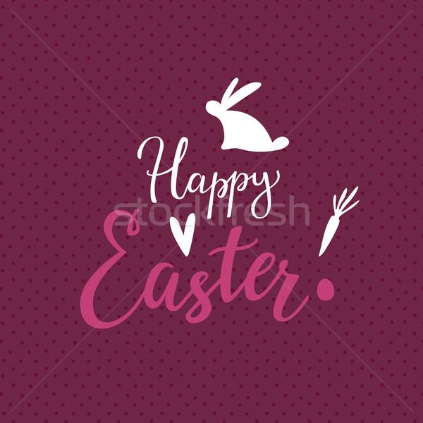 Vrolijk pasen Pasen script typografie voorjaar liefde Stockfoto © kraska