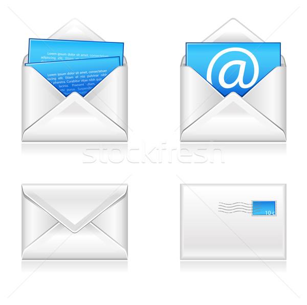 E-mail icone carta finestra web blu Foto d'archivio © kraska
