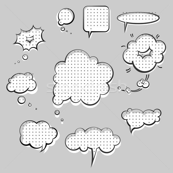 Konuşmak bulutlar stil mürekkep grafik ayarlamak Stok fotoğraf © kraska