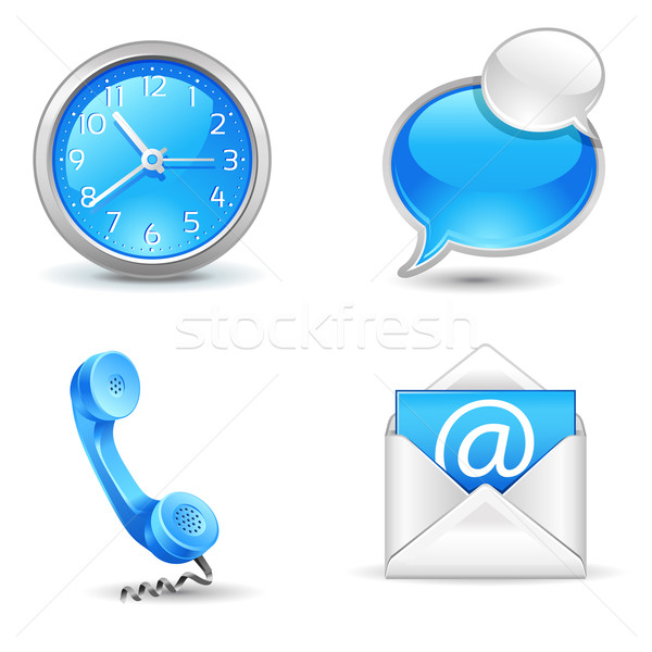 Oficina iconos reloj mail chat Foto stock © kraska