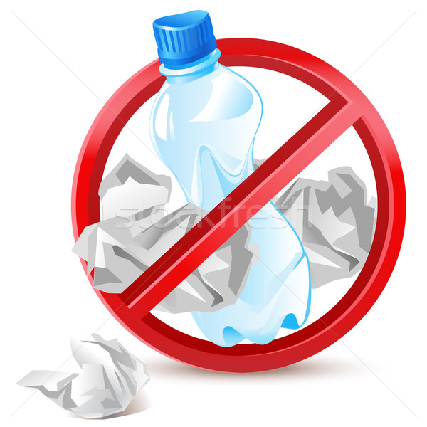 Não desperdiçar plástico garrafa papel Foto stock © kraska