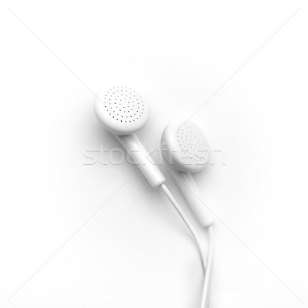 белый наушники изолированный пути звук Сток-фото © kravcs