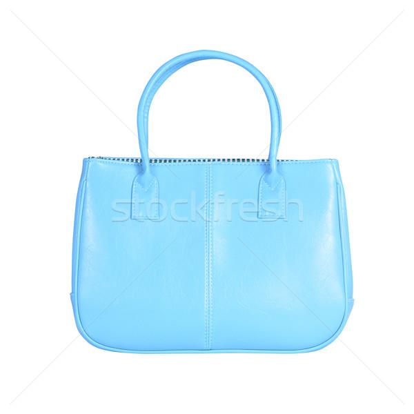 Blauw vrouwelijke zak afbeelding geïsoleerd leder Stockfoto © kravcs
