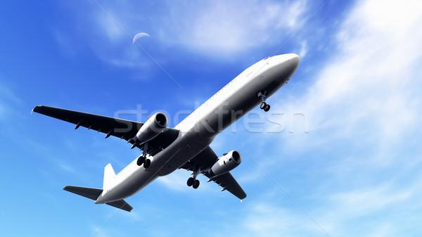 Vliegtuig blauwe hemel witte vliegtuig af Stockfoto © kravcs