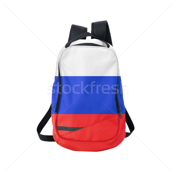 Russia flag backpack isolated on white Stock photo © kravcs