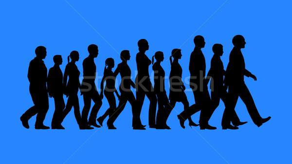 Groep mensen lopen silhouetten geïsoleerd Blauw Stockfoto © kravcs