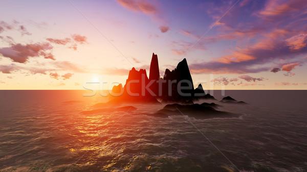 пустыне острове высокий качество оказывать закат Сток-фото © kravcs