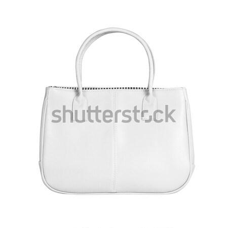 Witte vrouwelijke zak afbeelding geïsoleerd leder Stockfoto © kravcs