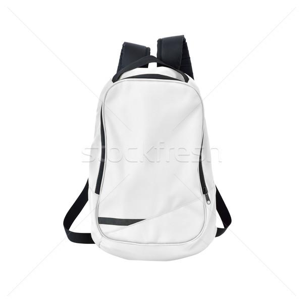 Witte rugzak geïsoleerd pad afbeelding rugzak Stockfoto © kravcs