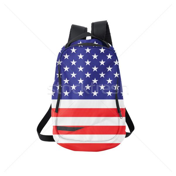 американский флаг рюкзак изолированный белый флаг Снова в школу Сток-фото © kravcs
