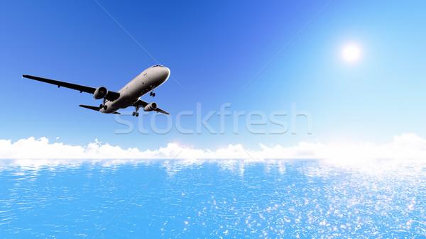Vliegtuig zee witte vliegtuig vliegen Stockfoto © kravcs