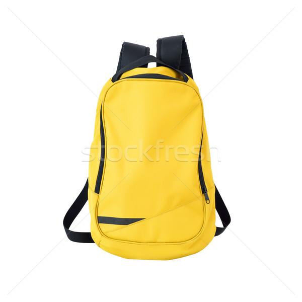 Geel rugzak geïsoleerd pad afbeelding rugzak Stockfoto © kravcs