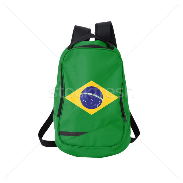 Brazil flag backpack isolated on white Stock photo © kravcs