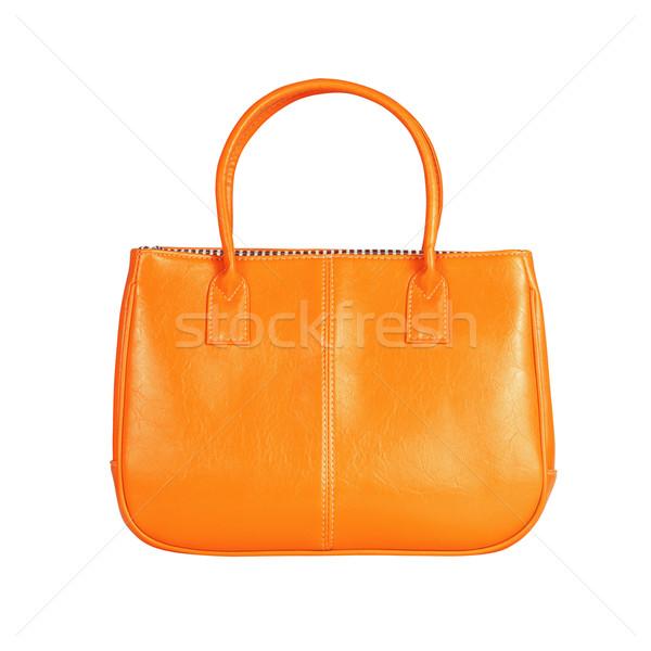 Oranje vrouwelijke zak afbeelding geïsoleerd leder Stockfoto © kravcs