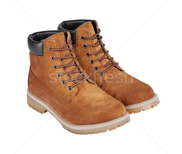 Bruin leder laarzen geïsoleerd witte Stockfoto © kravcs