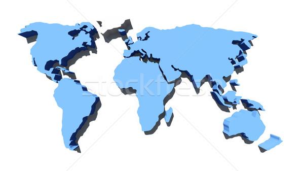 Wereldkaart kaart wereld geïsoleerd witte achtergrond Stockfoto © kravcs