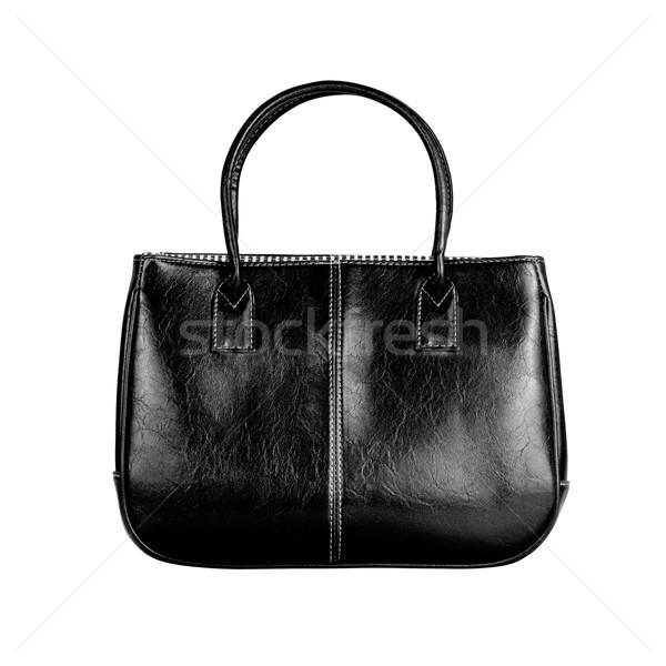 Zwarte vrouwelijke zak afbeelding geïsoleerd leder Stockfoto © kravcs