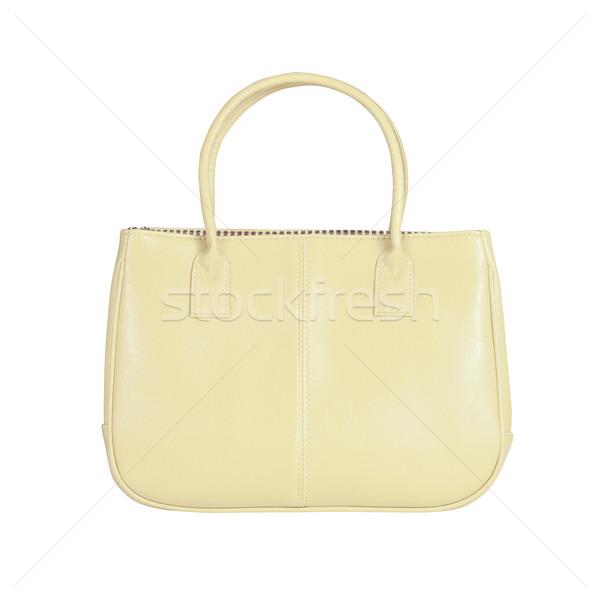 Beige vrouwelijke zak afbeelding geïsoleerd leder Stockfoto © kravcs