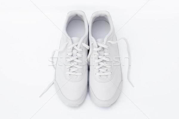 Loopschoenen paar witte sport sport schoenen Stockfoto © kravcs