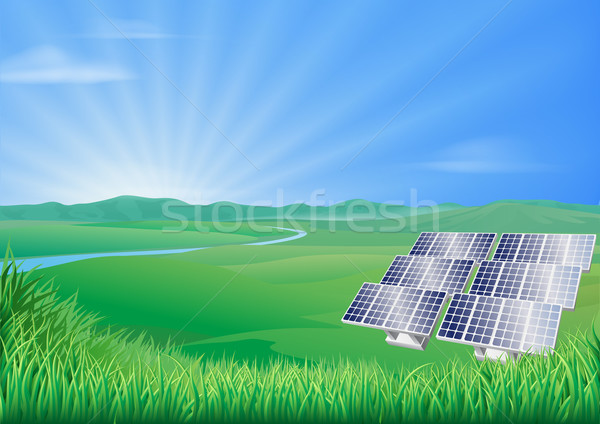 Solar panel landscape illustration  Stock photo © Krisdog