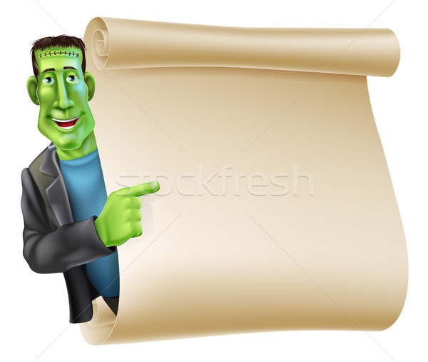 Halloween Frankenstein Scroll Banner Stock photo © Krisdog