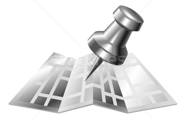 Illustration of shiny metal steel map and pin icon Stock photo © Krisdog