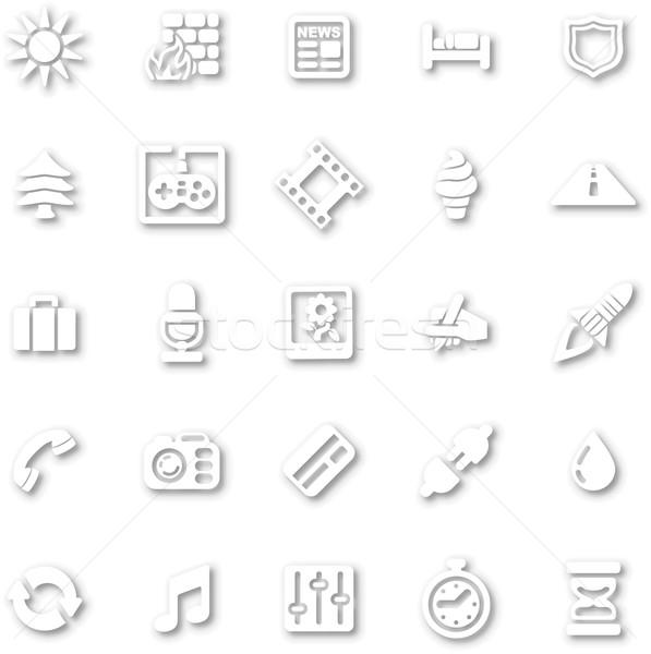 Stock photo: White minimalist icon set