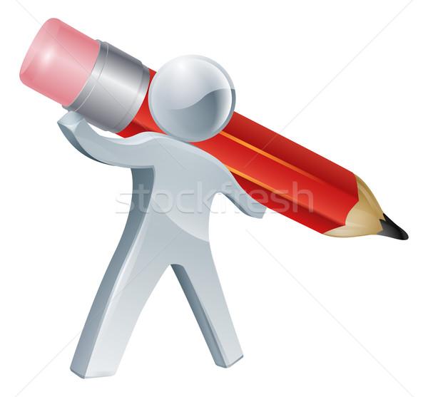 Person writing with giant pencil Stock photo © Krisdog
