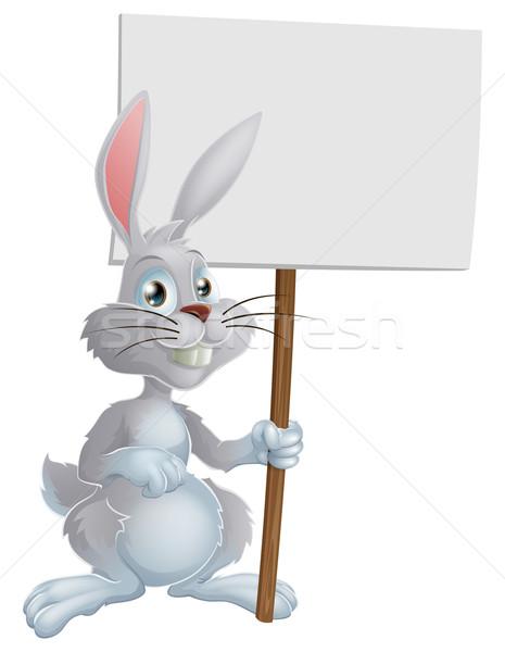 Witte Easter Bunny teken cute cartoon Stockfoto © Krisdog