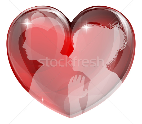 Loving man and woman heart Stock photo © Krisdog