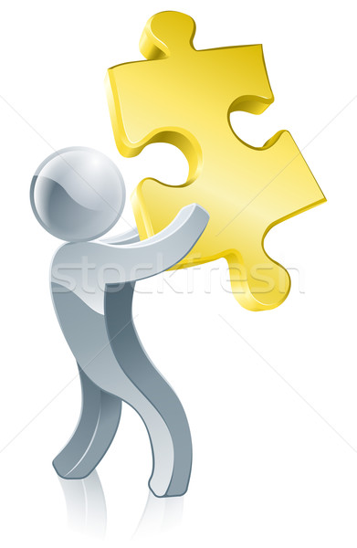 Jigsaw piece mascot Stock photo © Krisdog