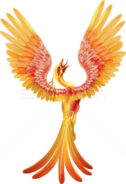 Phoenix vogel vleugels chinese vlammen Stockfoto © Krisdog