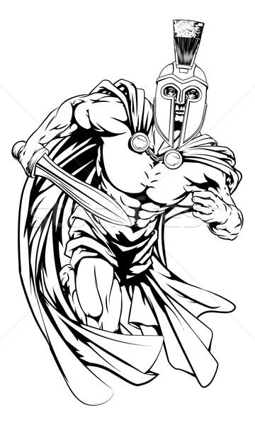 Troiano mascote ilustração guerreiro esportes Foto stock © Krisdog