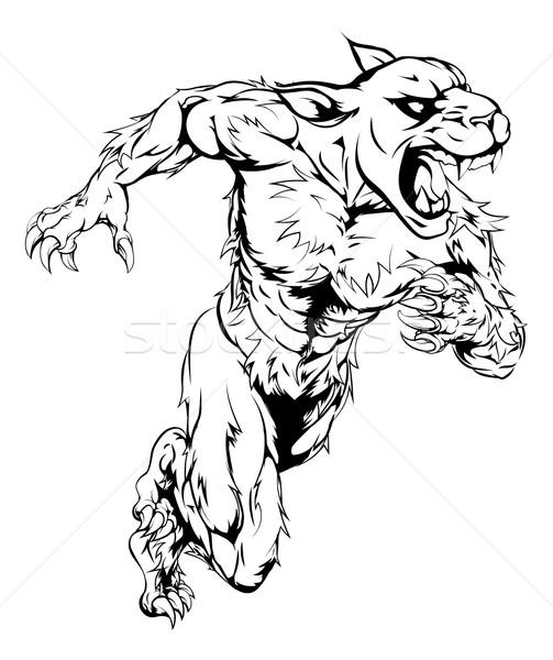 Panther спортивных талисман работает человека характер Сток-фото © Krisdog