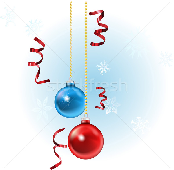Xmas baubles and streamers Stock photo © Krisdog