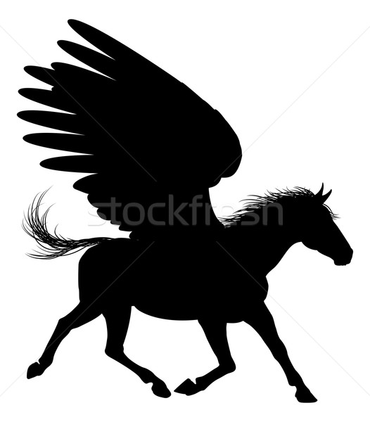 Winged Pegasus Horse Silhouette Stock photo © Krisdog