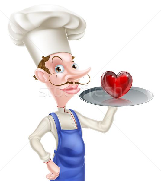 Rajz szakács szív illusztráció tart tálca Stock fotó © Krisdog